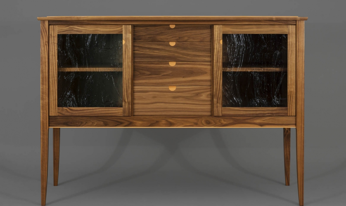Fine furniture sideboard in claro walnut with pear wood detail by Hugh Montgomery