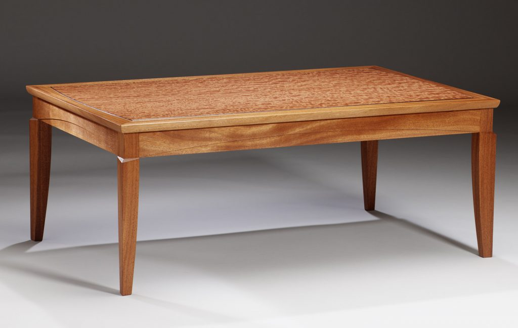 African Mahogany and mottled Makore wood coffee table