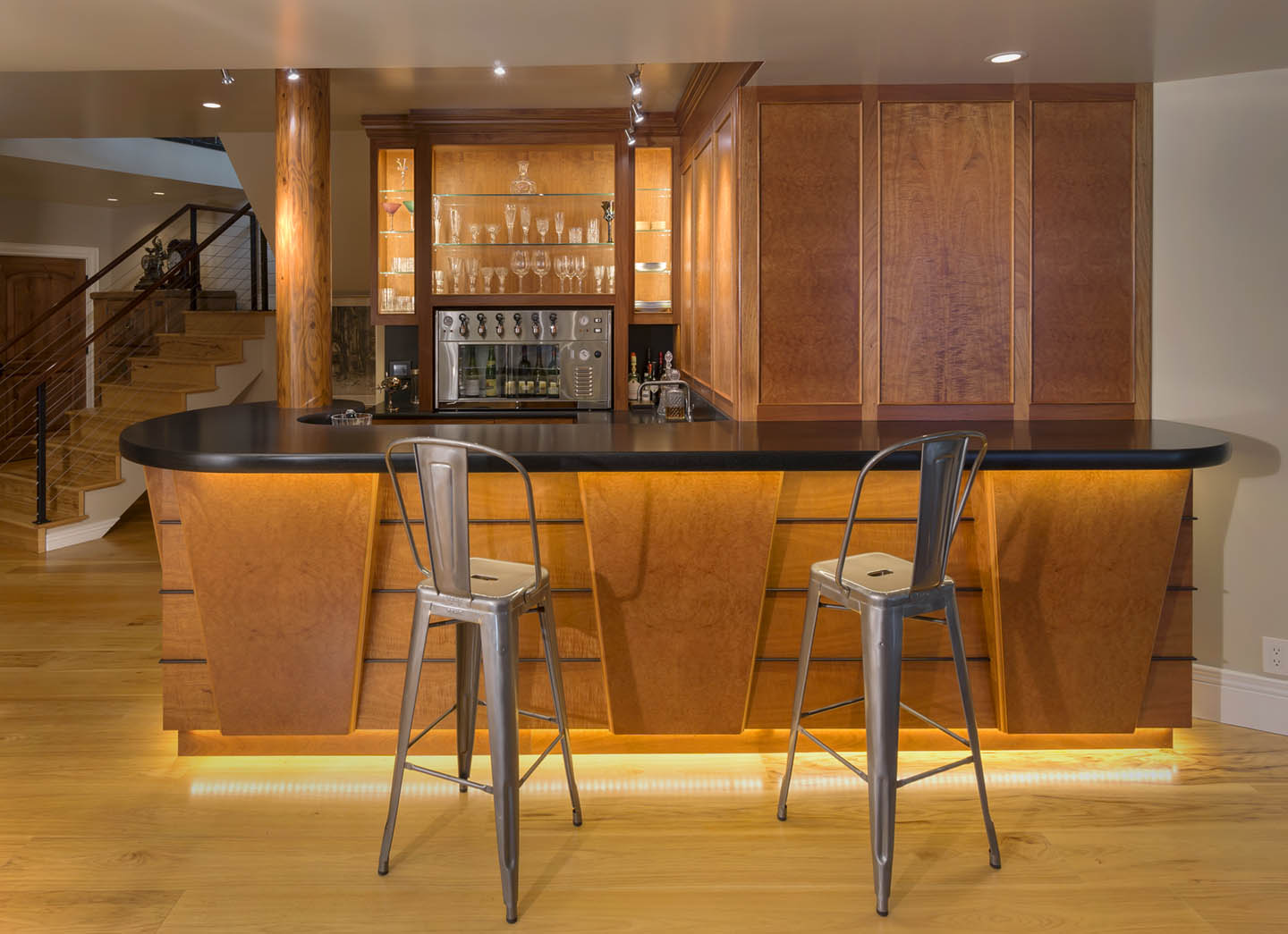 Wine bar with custom madrone burl panels by Hugh Montgomery