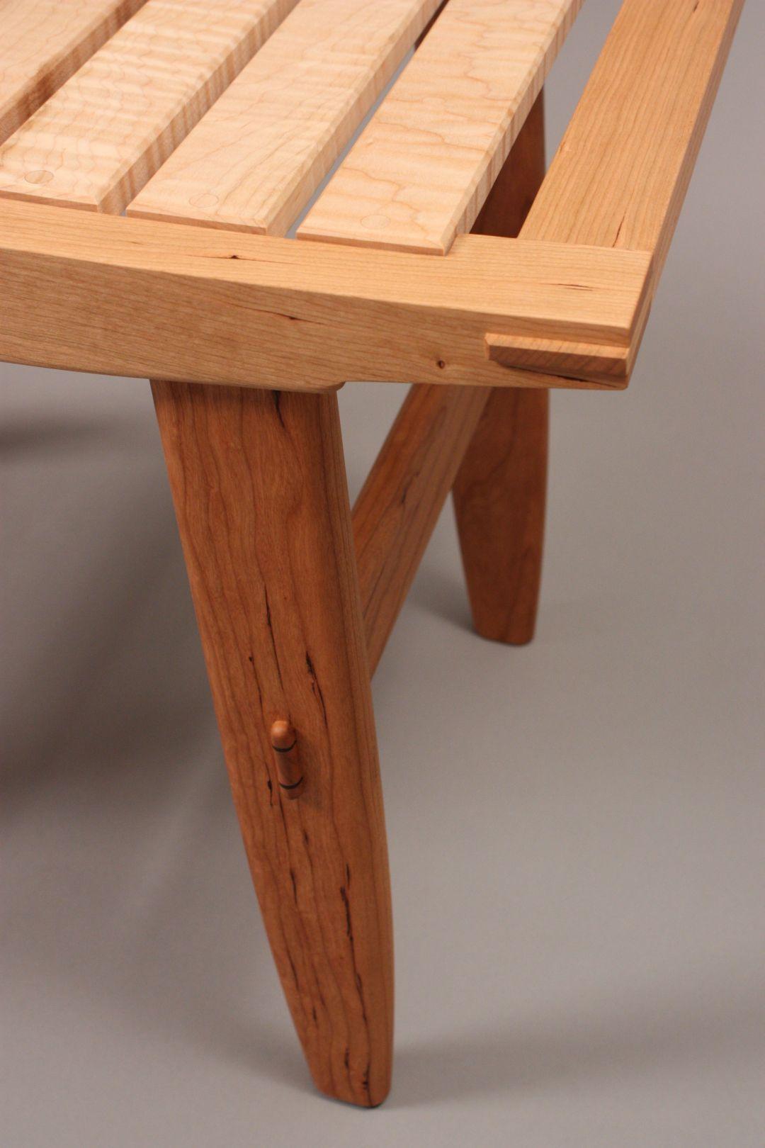 wood bench with slates