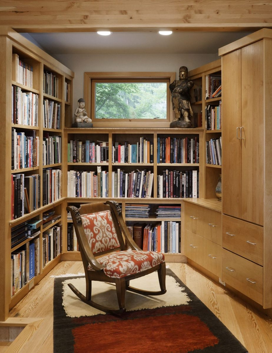 bamboo and maple wood bookcase
